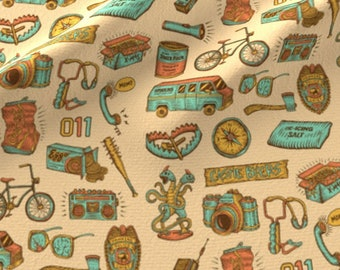Strange Things Fabric - Strange Things Icons By Nerdfabrics - Strange Thing Fan Art Pop Culture Cotton Fabric By The Yard With Spoonflower