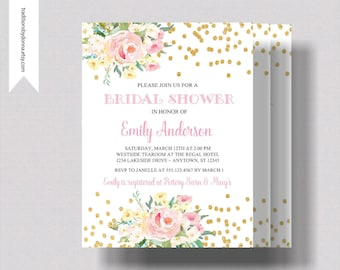 BRIDAL SHOWER INVITATION Blush Pink and and Gold Glitter   Beautiful  Watercolor Floral Bridal Shower Invitation   Shabby Chic Bridal Shower