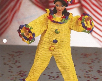 Crochet Pattern, Crochet Barbie Doll Pattern, Fashion Doll Pattern, Clown Costume