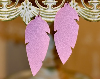 Pink feather leather earrings- FREE SHIPPING