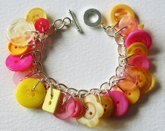 Candy Colors Yellow and Sweet Pink Button Bracelet