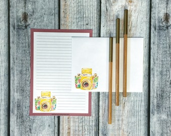 Stationery Set - floral camera - letter writing set