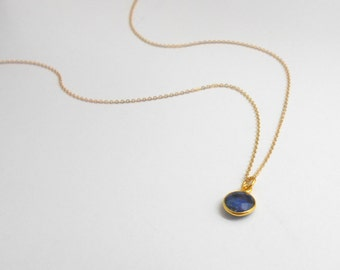Raw Sapphire Necklace, Raw Sapphire Pendant, Natural Sapphire, Healing Crystal Stone, Birthstone, Gold Filled, Gift for Her, Bridesmaid gift