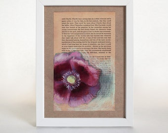 Poppy #4 Art Print, Pastel, Collage, Wall Art, Botanical Art, Floral Print, Home Decor, Gift for Mom, Poppies, Gifts Under 50
