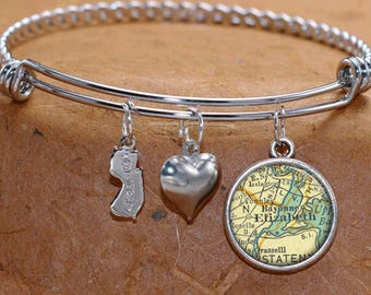 Elizabeth New Jersey Map Charm Bracelet State of NJ Bangle Cuff Bracelet Vintage Map Jewelry Stainless Steel Bracelet