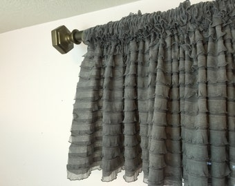 Gray Valance - Grey Valance - Bay Window Curtains - Extra Wide Valance- Window Valance- Gray Curtains- Nursery Curtains Short Curtains