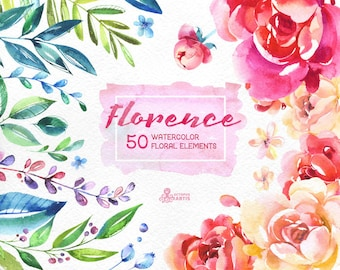 Florence. 50 Watercolor floral Elements, hand painted clipart, peonies, floral wedding invite, pink, greeting card, diy clip art, flowers