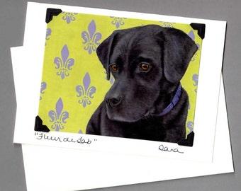 Black Lab Card - Labrador Retriever Card - Black Dog Card - Fleur de Lab - Proceeds Benefit Animal Charity