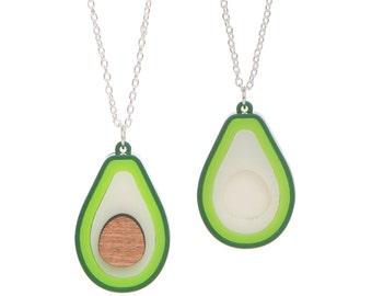 Avocado Necklace - laser cut acrylic - choice of single or BFF set