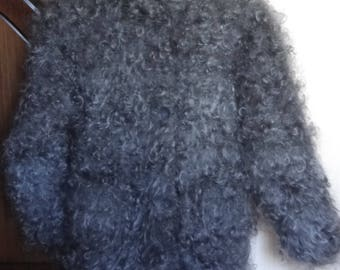 Warm puffer coat -Mohair Sweater Longhair 100% Goat Down soft