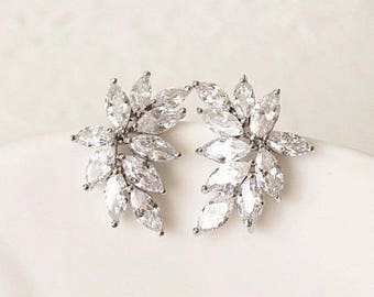 Marquise Crystal Bridal Earrings Studs Wedding Earrings for Brides cubic zirconia leaf cluster luxury woman wife gift Bridesmaid jewelry