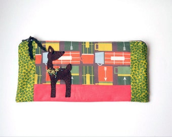 "Zipper Pouch, 5x10"" red, green, mustard, brown, blue and cream thermos Fabric with Handmade Felt Deer Embellishment, Deer Pencil Case"