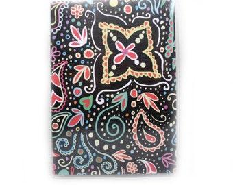 Passport Cover - Chalkboard Doodle - neon brights - mehndi inspired paisley passport holder - travel accessory