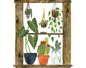 Plants Window Art Print, Watercolor Painting, Cactus Wall Art, Succulents, Macrame Watercolor Art Print by Little Truths Studio