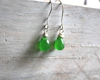 Green  Gemstone Earrings  - Silver Drop Earrings - Briollete Gemstone Jewelry -