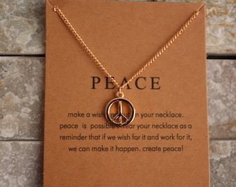 Peace card with necklace in gold gilded necklace chain Wish chain