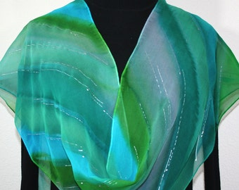Green, Teal, Gray Chiffon Silk Scarf Hand Painted GREEN FOREST, in Several SIZES. Handmade Anniversary Gift, Birthday Gift