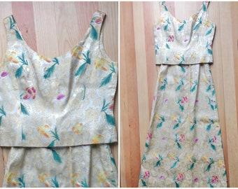 50's Maxi Hostess Dress 2 Pcs Crop Top Maxi Sale Skirt Mother of the Bride Exquisite Zari Watercolor Satin Brocade Gold Tone Bateau Slvless