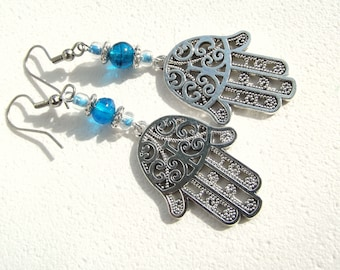 Hamsa Hand Earrings Hand of Fatima Hand of Miriam Silver and Turquoise Dangle Earrings