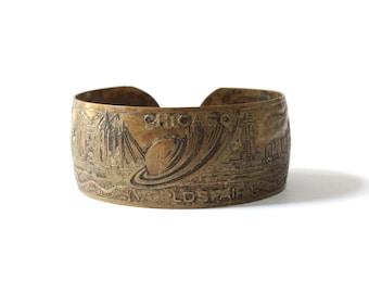 1934 Vintage Chicago World's Fair Copper Cuff Bracelet
