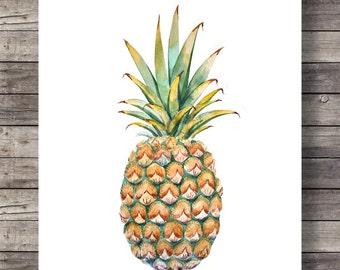 Watercolor pineapple, tropical,Hawaii, pineapple, Printable art, Pineapple Print, Aloha, tropical Art Print, Modern ,Home Decor, luxe art