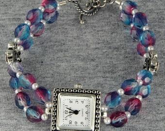 New Lower Price Handmade Silver Watch Pink Blue Purple Glass Beads
