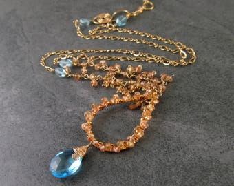 Yellow sapphire necklace, handmade gold filled Swiss blue topaz necklace-OOAK gemstone jewelry