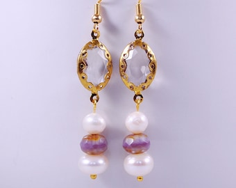 Lavender Fields Dangle Earrings, Freshwater Pearls, Engagement, Bridal Shower, Anniversary Jewelry