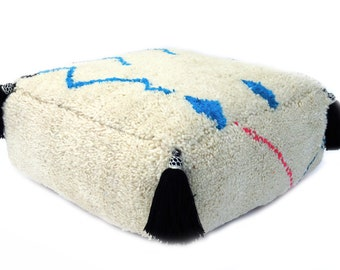 Abstract Moroccan Wool Pouf