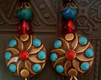 Blue Sapphire Jasper Mandala Earrings