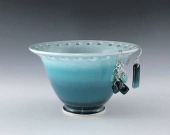 Ceramic Earring Holder, Teal Earring Bowl, Jewelry Holder, Porcelain Earring Bowl, Pottery Earring Bowl, Jewelry Storage Dish, Earring Stand