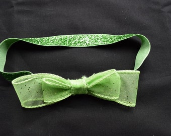 """Pretty and Sparkly Green Headband for 6 months to 3 years (16"""")"""