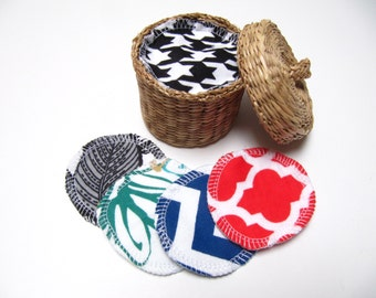 Reusable Facial Rounds, 30 Cosmetic Rounds, Makeup Remover Pads, Eco-Friendly Face Scrubbies, ADULT Friendly Prints