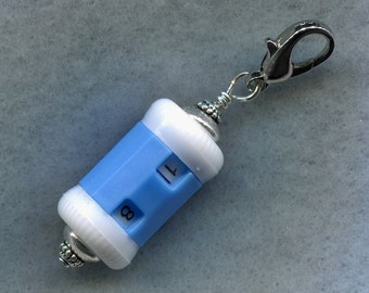 Small Blue Row Counter Stitch Counter With Claw Clasp Handy Convenient