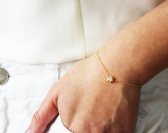 Tiny CZ Gold Bracelet / Diamond CZ Bracelet / Delicate Gold Bracelet / Gift for her