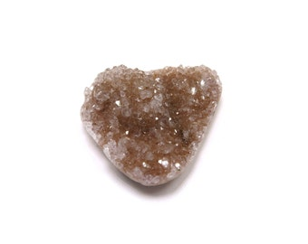 Druzy Cabochon Agate 27mm x 23mm Crystal 1 Freeform Pear Shaped Mauve Tan Stone for Jewelry Making & Wire Wrapping, Drusy (Lot 6806)