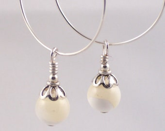 Mother of Pearl Drops on Silver Hoops