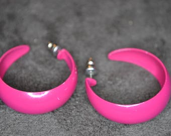 Vintage Red Hoop Earrings / Free Shipping
