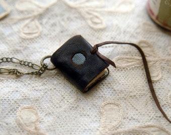 Blue Moon - Mini Wearable Book, XXS, Dark Brown Recycled Leather, Vintage Linen - OOAK