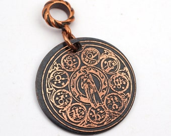 Zodiac symbols pendant, round flat copper horoscope jewelry, optional necklace, 28mm