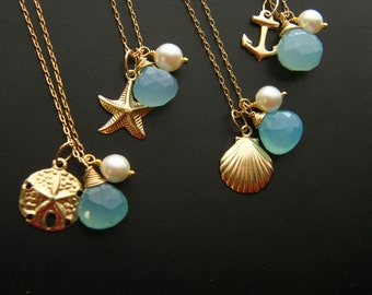 Nautical Gold Beach Wedding Bridesmaid Jewelry | Beach Wedding Necklace | Bridesmaids Gifts