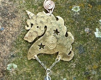 Unicorn Celestial pendant, Jewellery SquareHare, Free Postage, UK, Vegan fantasy enchanted dreams legand equine horse jewellery pagan summer