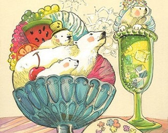 OURS polaire Sundae rêve Art copie sur 8,5 x 11