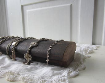 "One Architectural Bracelet Display - Antique Walnut Jewelry Display Block - 12"" length - READY TO SHIP -Quantity Available"