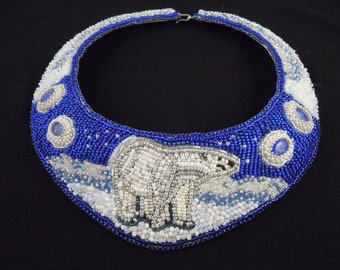 Polar Bear Necklace, Bead Embroidered Necklace, Beaded Collar, Seed Bead Necklace