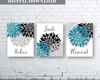 Bathroom Print Art-Relax Soak Unwind- Teal Grey Art- Teal Grey Black Flower Bathroom. Teal and Grey Floral Bathroom art. Teal and Black Art
