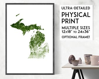 Forests of Michigan poster print   Physical Michigan map print, Michigan print, USA map, Michigan art, Michigan map art, Michigan wall art