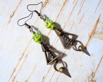 Lime Green and Brass Skull Earrings (3732)