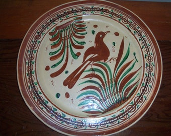 Very Large Vintage Mexico Pottery Plate Platter Charger Brown Beige Handmade Hand Painted