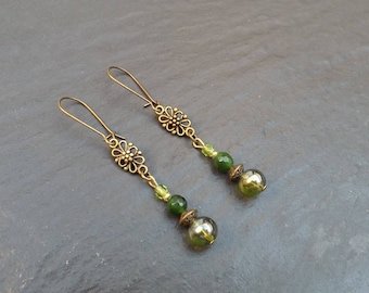 """Earrings """"nature""""glass beads, green jade and Crystal """""""